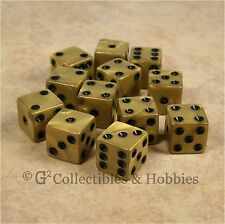 New Set of 12 Olympic Gold w Black Pips Gaming Dice D&D RPG Bunco 16mm D6