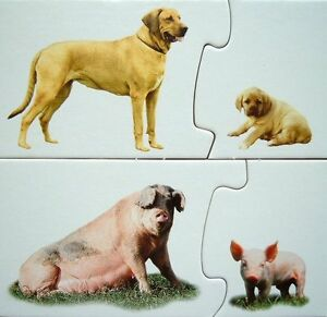 Animal Jigsaw Puzzle Galt Match Game 'Whose Baby?' Autism,Autistic Toy,40 Pieces