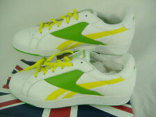 New Mens 11 REEBOK NPC UK White Green Yellow Lemon Lime Leather Running Shoes