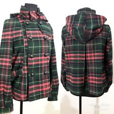 Divided by H&M Womens Sz 4 Plaid Hooded Jacket Winter/Fall Outerwear Waist Coat