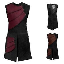 Vintage Men's Medieval Shirt Vest Laced Up Pirate Renaissance Sleeveless Costume
