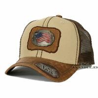 USA American Flag hat Metallic Flag patched Mesh Snapback Baseball cap- Khaki