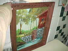 1970 Water Grist Mill 3 D Painting Oil H. Goodall Wood Frame Studio 17 San Diego