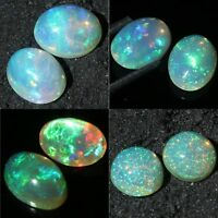 Limited offer Natural Ethiopian Fire Opal Cabochon's Pair Fire Play of Color