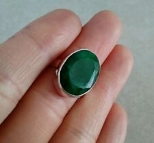 NATURAL OVAL GREEN EMERALD 925 STERLING SILVER RING 6, 7, 7.5, 8.5, 9.5 CHOOSE