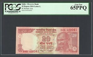 India 20 Rupees 2016 P103t Letter L S/000041 Uncirculated Graded 65