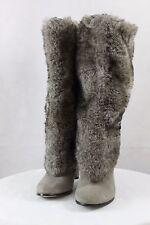 2298216dd  259 ~ Women s SAM EDELMAN SHALIN Faux Fur Suede Knee High Pull on Heel  Boots 6M