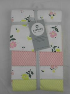 """Carter's Baby Girls 4 Pack Flannel Receiving Blankets Flowers 40"""" x 30"""" NEW NWT"""