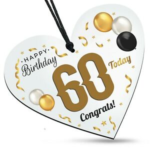 60th Birthday Congrats Wooden White Heart Balloons Plaque Family Friends Gift