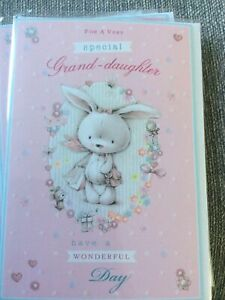 Happy Birthday For A Special Granddaughter.Pretty Bunny & Flowers Design Card.