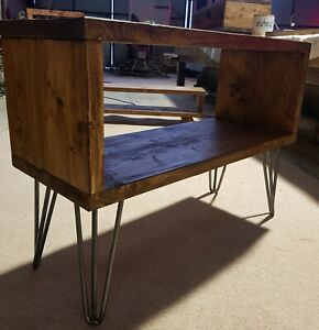 Rustic tv unit..media centre..hairpin legs..waxed..custom made....free postage