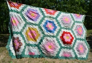 """Vtg   hand-stitched unfinished quilt top 85x100"""" florals green"""