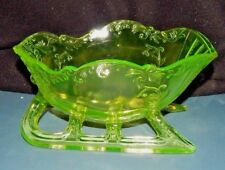 "LARGE VASELINE GLASS SLEIGH CENTERPIECE BOWL Westmoreland Mark  GLOWS! 9 1/2"" L"