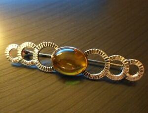 New Baltic Amber And Silver Bar Brooch in Box