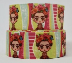 Adorable Cartoon Frida Kahlo 25mm Grosgrain Ribbon per metre