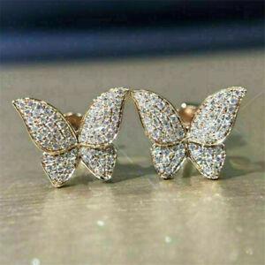 Fashion Women Stud Earrings Butterfly 925 Silver,Gold Cubic Zirconia Jewelry