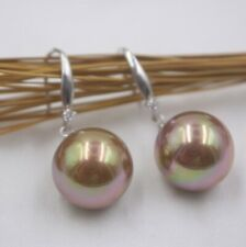 Real S925 Silver Earrings Women's Mother of Pearl Gold Color Ball Earrings Hook