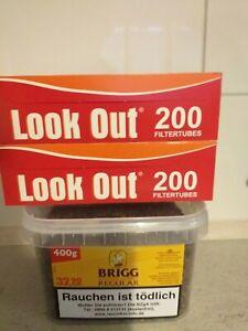 Brigg Regular 400g Pfeifentabak  auch z. Stopfen geeignet & 400 Zigarettenhülsen