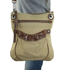 FOSSIL Tan Canvas Brown Leather Shoulder Hobo Tote Satchel Crossbody Purse Bag