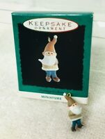 1993 Learning to Skate Gnome Miniature Hallmark Christmas Tree Ornament MIB Tag