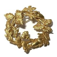 VINTAGE ACORN OAK Leaf PIN Brushed Gold Tone CIRCLE PIN Wire Wrap BROOCH Autumn