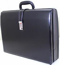 New Slim Line Exective Attache Case Faux Leather Expandable Briefcase Office Bag