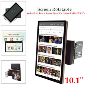 2DIN 10.1'' Rotatable Android 9.1 Touch Screen Quad Car Stereo Radio GPS Navi