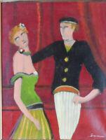 """tableau huile sur toile -- signée   """"Les danseurs """" """""""