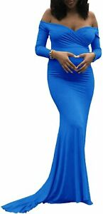 Saslax Maternity Elegant Fitted Maternity Gown Long Sleeve Slim Fit Maxi Photogr