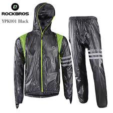 Unisex Sports Raincoat Cycling Bike Bicycle Waterproof Windproof Rain Coat Sets 2xl Black Upgrade