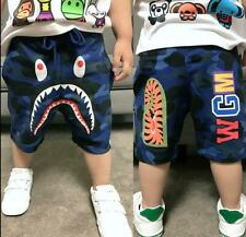 Fashion Kids Boy Blue Camo Shark Tiger WGM Summer Pant Short Pants