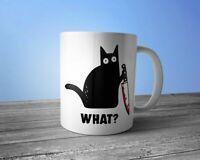 Black Cat With Knife What Mug Ceramic White 11 Oz.