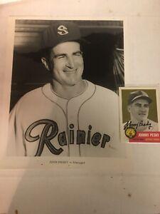 Johnny Pesky Seattle Rainiers Team Photo Plus Auto Card PCL Minor League MiLB