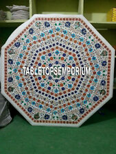 "36"" White Marble Side Dining Table Top Multi Stone Inlay Pietra Dura Home Decor"