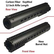 "12"" KeyMod Free Float Carbon Fiber Quad Rail Handguard With Rail and New Nut"