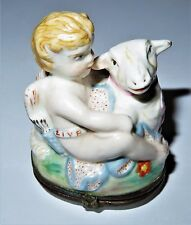 ANTIQUE BOX - FRENCH FAIENCE POTTERY - CUPID & LAMB BONBONNIERE - FLOWERS