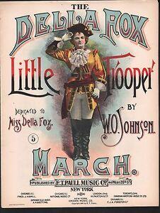 Della Fox Little Trooper March 1895 Large Format Sheet Music