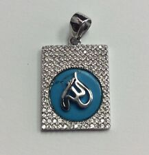 REAL STERLING SILVER Arabic Allah Turquoise & CZ Medallion PENDANT 4.8g