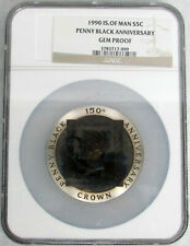 1990 ISLE OF MAN 5 CROWN SILVER PENNY BLACK ANNIVERSARY 5 OZ COIN NGC GEM PROOF