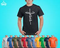 JESUS Cross Mens T-Shirt Christian Religious Faith Disciple Church Shirts