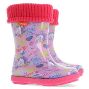 Kids Boys Wellington Boots Wellies Rainy Boots Unicorn All sizes pink grey girls