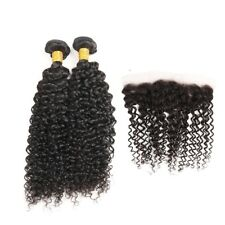 Jerry Curl Brazilian Virgin Hair 2 Bundles with Free Part Lace Frontal Closure