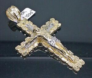 10K Real Yellow Gold Nugget Jesus Crucifix Cross Charm Diamond Cuts Men 3 Inch