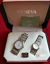 Geneva classic collection his and hers silver tone watches in box, running
