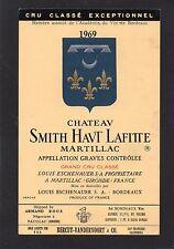 GRAVES GCC ETIQUETTE CHATEAU SMITH HAUT LAFITTE 1969 EXPORT USA RARE  §11/05/17§