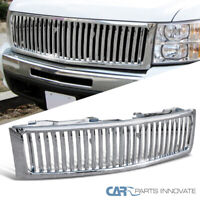 For Chevy 07-13 Silverado 1500 Pickup Vertical Chrome Front Bumper Hood Grille