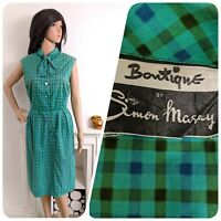Vintage Simon Massey Blue Green 1940s 50s Cotton Checked Shift Dress 40s 12 40