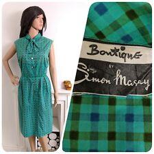 Vintage Simon Massey Blue Green 1950s Cotton Checked Shift Dress 40s 12 40