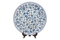 """Oriental Blue and White Floral Porcelain Plate 18"""" Diameter"""