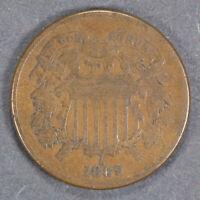 1869 2c TWO-CENT PIECE LOT#E308